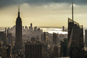 Фотографии Здания Небоскребы Штаты Мегаполис Нью-Йорк Города
