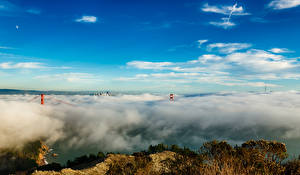 Картинка Небо Мосты Штаты Облака Сан-Франциско Природа