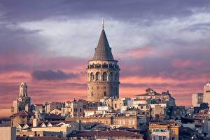 Обои Турция Дома Небо Стамбул Города фото