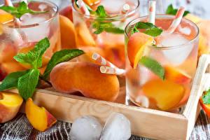 Картинки Напиток Персики Стакан Лед Продукты питания