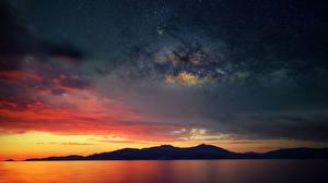 Картинки Франция Млечный Путь Небо Горы В ночи Силуэт Corsica Природа