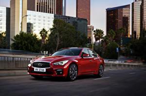 Обои Инфинити Дороги Бордовый Металлик 2016 Infiniti Q50S авто