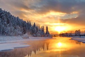 Картинки Пейзаж Времена года Зима Рассветы и закаты Леса Речка Снег Природа