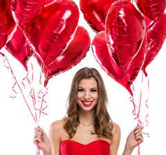 Картинка День святого Валентина Шатенка Сердце Шарики Улыбка Девушки