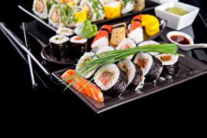 Фотографии Суши Морепродукты Пища