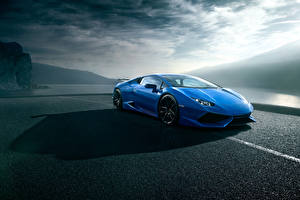 Картинки Lamborghini Синяя Роскошные Novitec Torado, Huracan машина