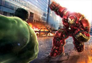 Обои Халк герой Мстители: Эра Альтрона Железный человек герой Сражение Кино Фэнтези