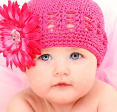 Фотография Гербера Младенец Шапки Лицо Розовый Дети
