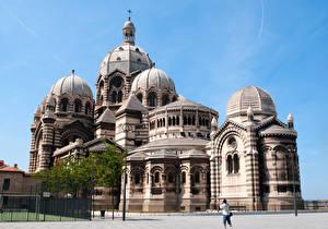 Обои Франция Храмы Марсель Собор Купол Cathedral de la Major Города