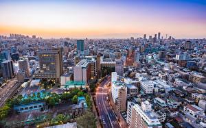 Фотография Здания Токио Япония Сверху Мегаполиса Города