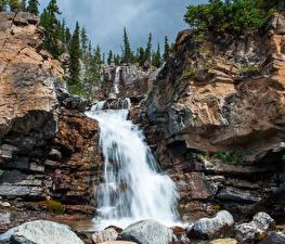 Фото Водопады Камень Утес Природа