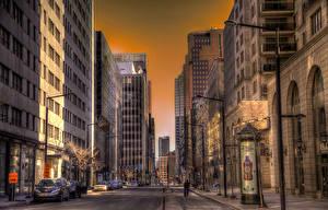 Фотографии Канада Здания Дороги Улиц Montreal Города