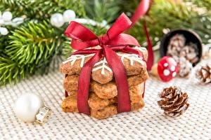 Картинка Печенье Выпечка Рождество Бантик Пища