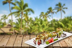 Фотография Морепродукты Суши Продукты питания