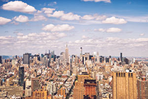 Обои Небо Дома Небоскребы США Облака Мегаполис Нью-Йорк Города