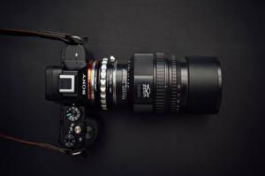 Обои Крупным планом Фотоаппарат Черный Sony A7 фото