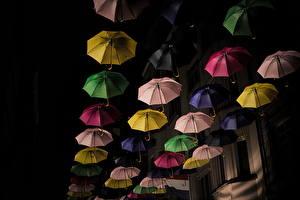 Обои Много Люксембург Зонт Ночь Города