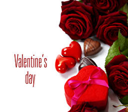 Обои День святого Валентина Розы Конфеты Бордовый Сердце Подарок Цветы