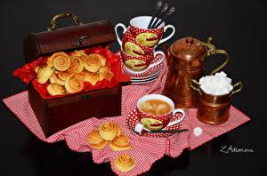 Картинки Натюрморт Выпечка Печенье Кофе Чашка Еда