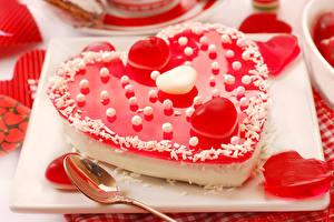 Фото День святого Валентина Сладости Торты Сердце Пища