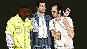 Картинки GTA 5 Рисованные Мужчины Трое 3 Негр Michael De Santa, Franklin Clinton, Trevor Phillips Игры