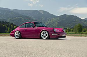Обои Porsche Горы Фиолетовый Сбоку 964 Автомобили фото