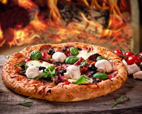 Фотографии Быстрое питание Пицца Грибы Еда