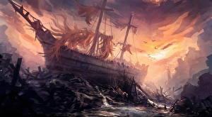 Обои Корабль Катастрофы Фантастика