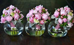 Фотография Букеты Пионы Гортензия Ваза Трое 3 Цветы