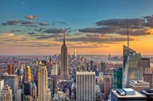 Обои Небо Здания Небоскребы США Мегаполиса Нью-Йорк Города