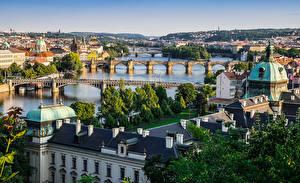 Фотографии Дома Мост Река Прага Чехия Карлов мост Города