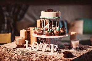 Картинки Любовь Торты Сладости Капкейк кекс Еда
