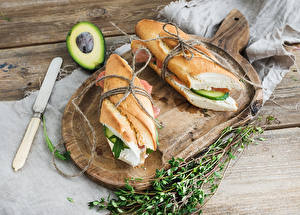 Картинки Бутерброды Хлеб Нож Сэндвич Авокадо