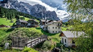 Картинки Италия Дома Горы Мосты San Cassiano Alta Badia