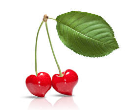 Картинка День святого Валентина Вишня Двое Серце Листва Еда