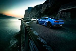 Фотография Lamborghini Голубой Дорогой Novitec Torado Huracan Автомобили