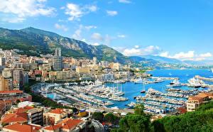 Обои Монако Дома Пирсы Гора Корабли Небо Монте-Карло Города