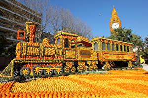 Фото Франция Цитрусовые Лимоны Апельсин Поезда Локомотив Дизайн Lemon Festival Menton