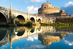 Картинки Рим Италия Крепость Речка Мосты Города