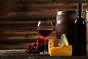 Картинка Вино Бочка Виноград Сыры Бутылки Бокал Еда