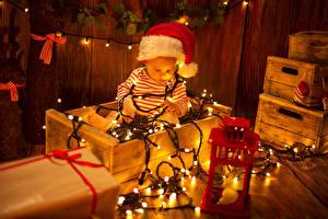 Фотография Рождество Свечи Младенцы Гирлянда Шапка ребёнок