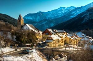 Фото Франция Здания Гора Мосты Зимние Entraunes город