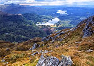 Картинки Шотландия Пейзаж Горы Озеро Леса Loch Drunkie Природа