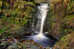 Обои Англия Водопады Камень Мох Lead Mines Clough Waterfall Природа