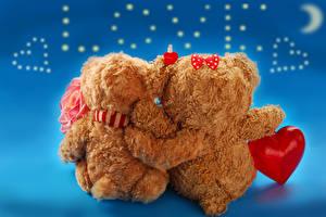 Картинка День святого Валентина Игрушки Мишки Сердце Двое Бантик