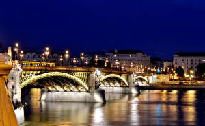 Фотография Будапешт Венгрия Дома Мосты Река Ночь Уличные фонари город