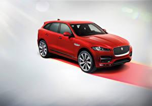 Фотографии Ягуар Красных 2015 Jaguar F-Pace R Sport Автомобили