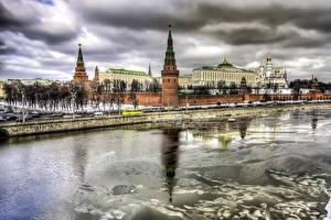 Обои Москва Россия Здания Реки Храмы Города