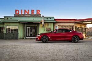 Картинки Infiniti Бордовый Металлик Сбоку 2016 Infiniti Q60 Автомобили