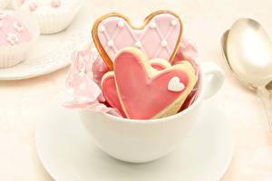 Фотография День всех влюблённых Выпечка Печенье Сердце Чашка Пища